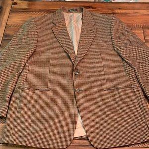Lauren Ralph Lauren Brown Wool Herringbone Blazer